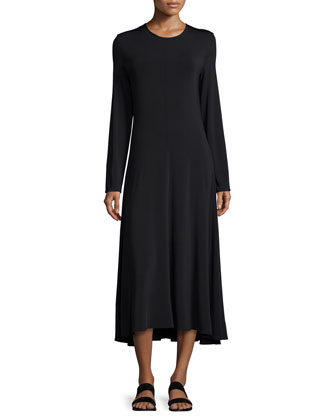 Lola Long-Sleeve Midi Dress, Black