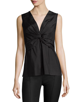 Krianni Sleeveless Twist-Front Top, Black