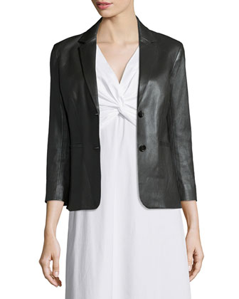 Noblan Leather Blazer, Black