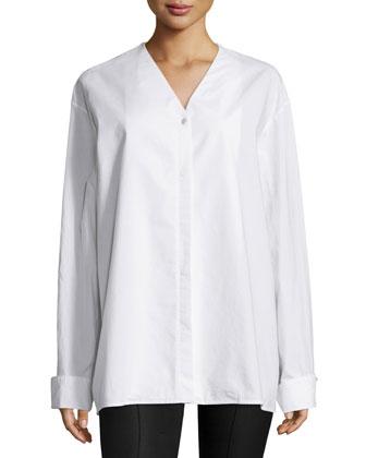 Moyo Long-Sleeve Oversized Shirt, White