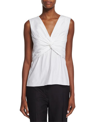 Tiani Sleeveless Twist-Front Top, White