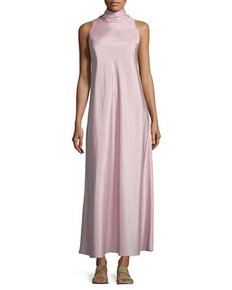 Abiana Sleeve Neck-Tie Dress, Cinder Rose