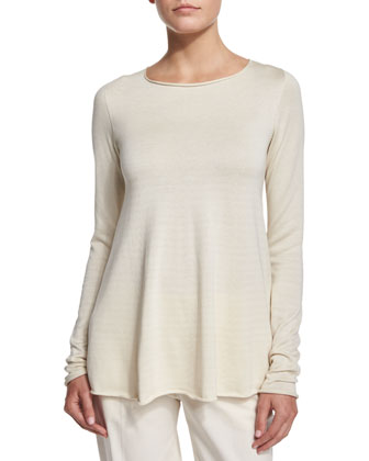 Abelle Long-Sleeve Trapeze Sweater, Natural