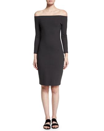 Off-The-Shoulder Scuba Sheath Dress, Pewter