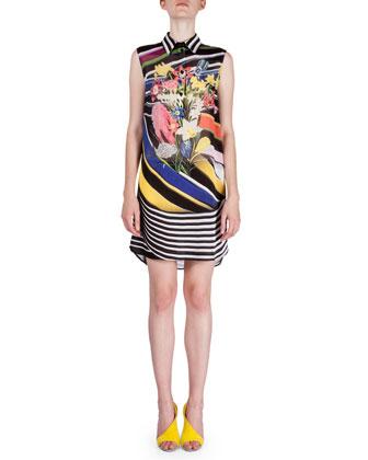 Sleeveless Multi-Print Shirtdress, Stripe Bouquet