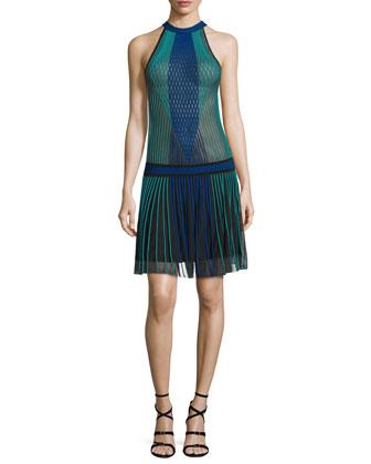 Halter-Neck Pleated-Skirt Dress, Black/Blue/Green