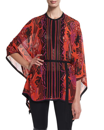 Jewel-Neck Printed Tunic, Red/Pink/Purple