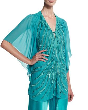 Flutter-Sleeve Embellished Tunic, Turquoise