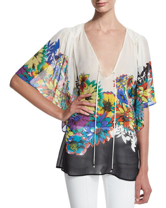 Flower Power V-Neck Tunic, Black/White/Blue