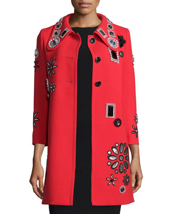 3/4-Sleeve Embellished Coat, Red