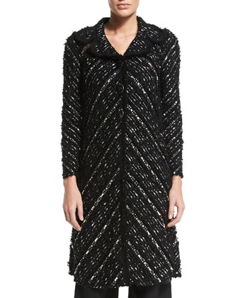 Tweed Bracelet-Sleeve Coat, Black