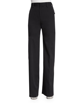 Flat-Front Wide-Leg Pants, Black