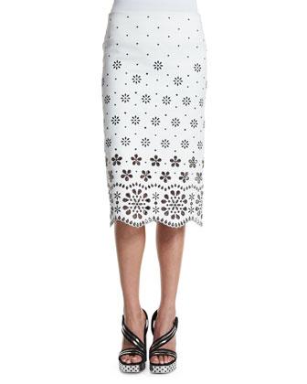 Laser-Cut Gabardine Pencil Skirt, White
