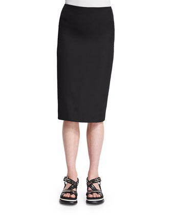 Sleeveless Embroidered-Lace Peplum Top & Classic Slim-Fit Pencil Skirt