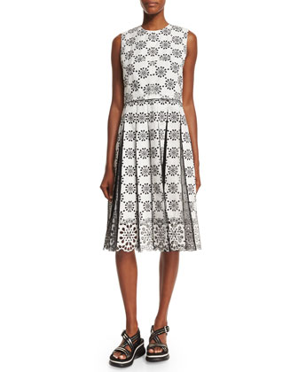Sleeveless Embroidered Lace Dress, White
