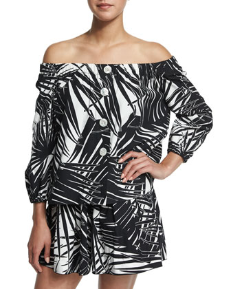 Off-The-Shoulder Palm-Print Blouse, Black