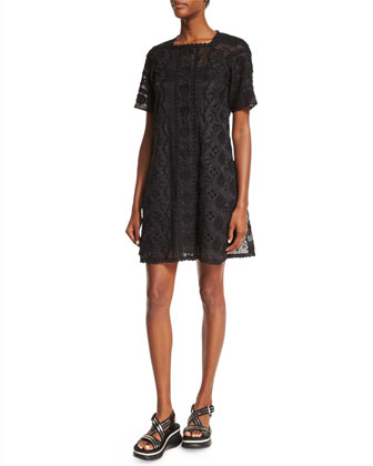 Short-Sleeve Lace Dress W/Slip, Black