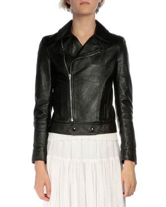 Long-Sleeve Leather Moto Jacket, Black