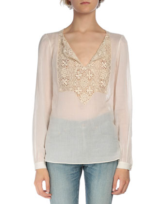 Long-Sleeve Lace-Inset Peasant Blouse, Beige Clair