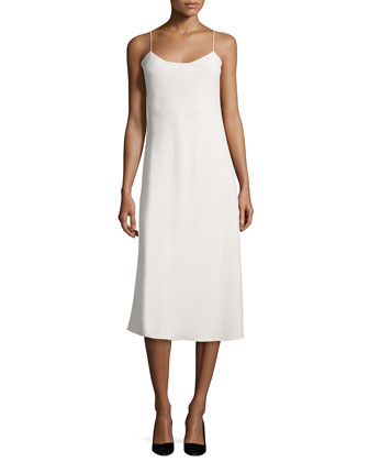 Gibbons Sleeveless Bias-Cut Dress, Cream