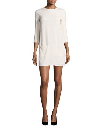 Marina 3/4-Sleeve Mini Dress, Cream