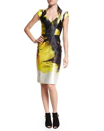 Anemone Cap-Sleeve Sheath Dress, Black/Yellow