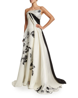 Strapless Black-Rose Gazar Gown, Black/White