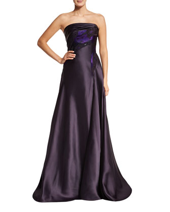 Dahlia Strapless A-Line Gown, Purple