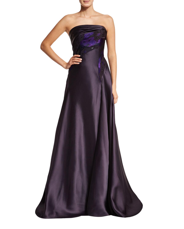 Dahlia Strapless A-Line Gown, Purple, Size: 10 - Rubin Singer