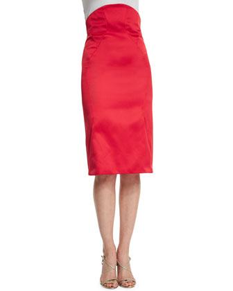 High-Waist Pencil Skirt, Hibiscus