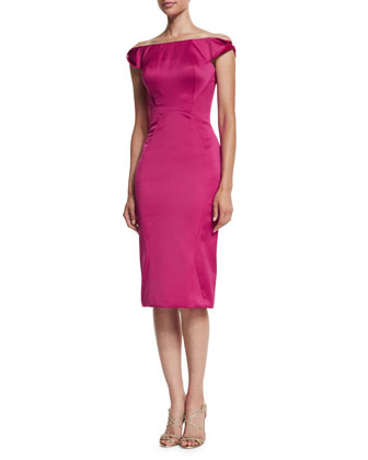 Off-The-Shoulder Cocktail Dress, Fuchsia