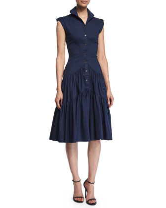 Sleeveless Tiered-Skirt Shirtdress, Navy