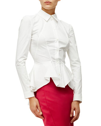 Long-Sleeve Peplum Blouse, White