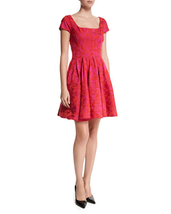 Cap-Sleeve Seamed Cocktail Dress, Fuchsia/Hibiscus