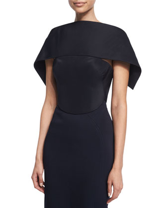 Over-The-Shoulder Wrap Top & High-Waist Pencil Skirt, Midnight