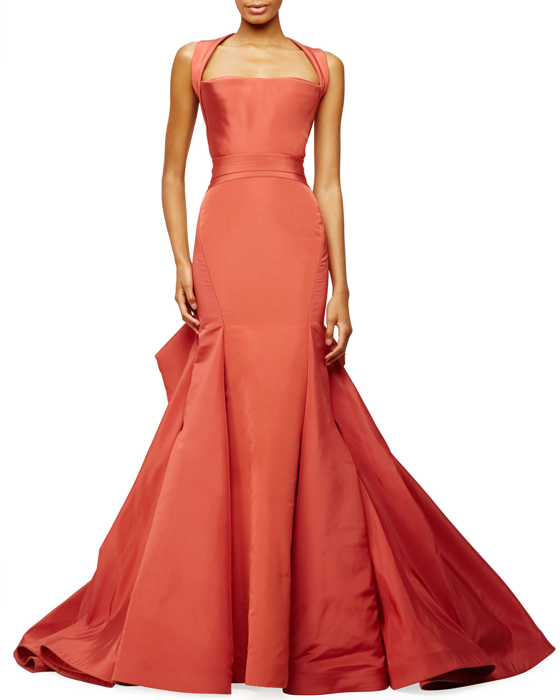 Halter-Neck Trumpet Gown, Crimson, Size: 10 - Zac Posen