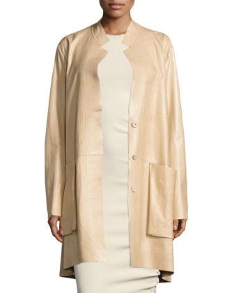 Trapeze Leather Coat W/Pockets, Pongee