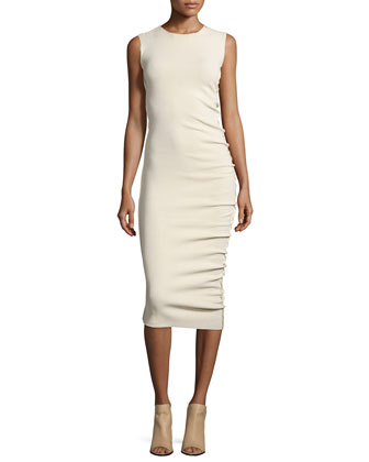 Sleeveless Midi Sheath Dress, Ecru