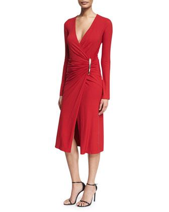 Long-Sleeve Drape Dress, Lacquer