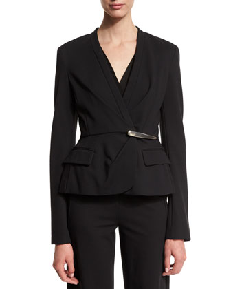 Long-Sleeve Peplum Jacket, Sleeveless V-Neck Peplum Top & Pull-On Wide-Leg ...