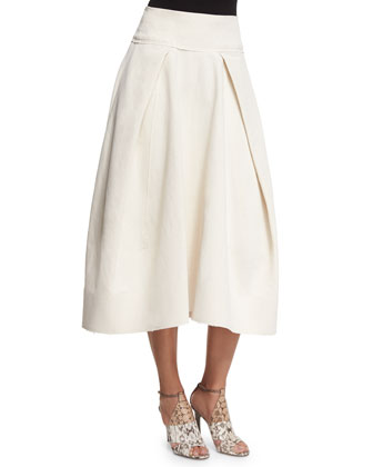 Envelope-Pleated Spiral Skirt, Bone