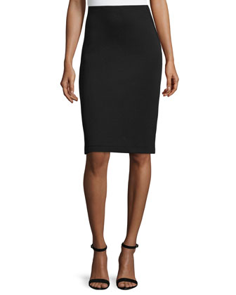 Three-Panel Pencil Skirt, Black