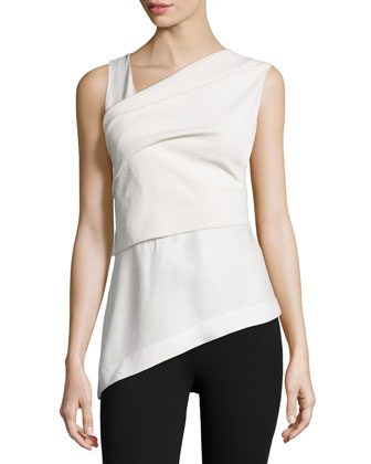 Sleeveless Wrap Top W/Bow Back, Bone/Porcelain