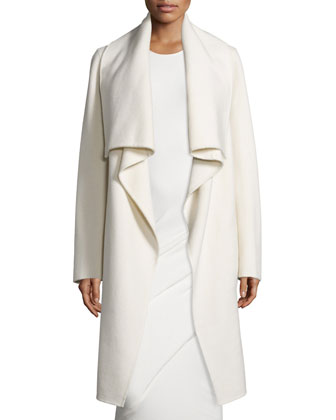Long-Sleeve Cashmere Clutch Coat & Sleeveless Ruched Midi Dress