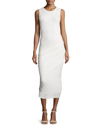 Sleeveless Ruched Midi Dress, Ivory