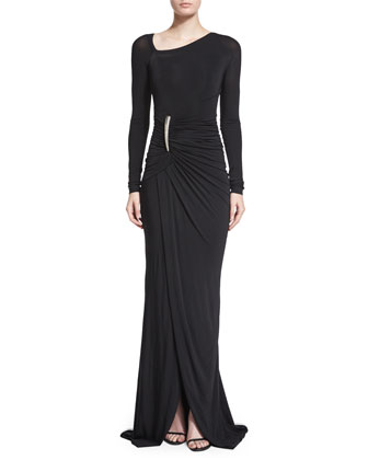 Long-Sleeve Ruched Gown W/Elemental Buckle, Black