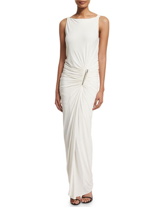 Sleeveless Draped Gown W/Element Buckle, Ivory