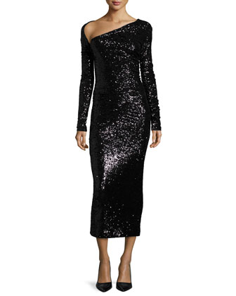Long-Sleeve Embellished Midi Dress, Black