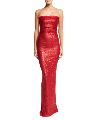 Strapless Sequined Evening Gown, Lacquer