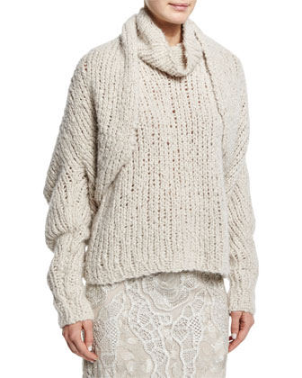 Long-Sleeve Cashmere Shrug, Sleeveless Cashmere Sweater & Slim-Fit Lace ...